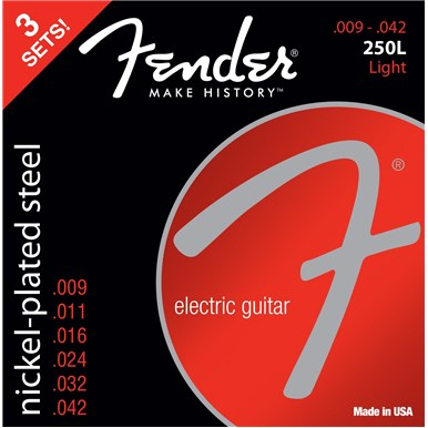 FENDER 3-PACK SUPER 250'S NICKEL-PLATED STEEL STRINGS - .009-.042