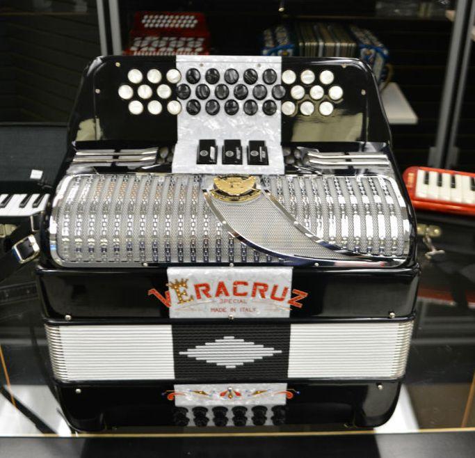 Excalibur Veracruz Special Italy Edition - 3 Row Button Accordion - Black and White Checker