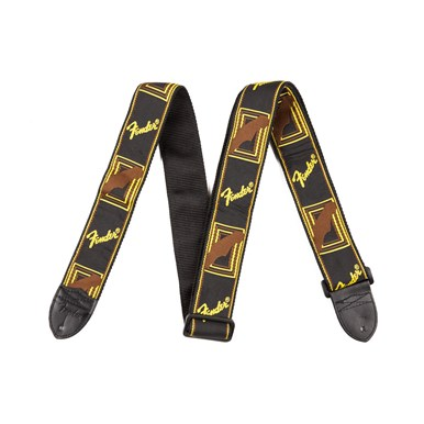 Fender® 2 Inch Monogrammed Guitar Strap - Black/Yellow/Brown