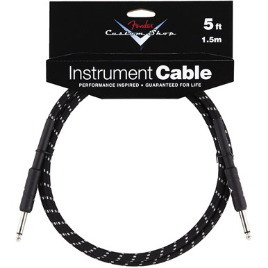 FENDER® 5 ft CUSTOM SHOP CABLES (STRAIGHT-STRAIGHT ANGLE) - Black Tweed
