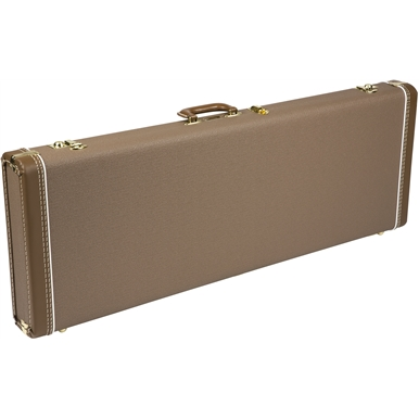 FENDER G&G DELUXE HARDSHELL CASES - BROWN WITH GOLD PLUSH INTERIOR
