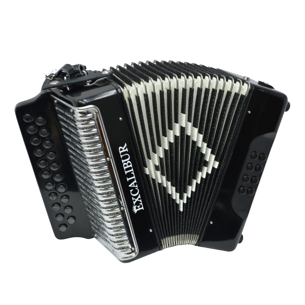 Excalibur Super Classic PSI 2 Row - Button Accordion - Black - Key of BC