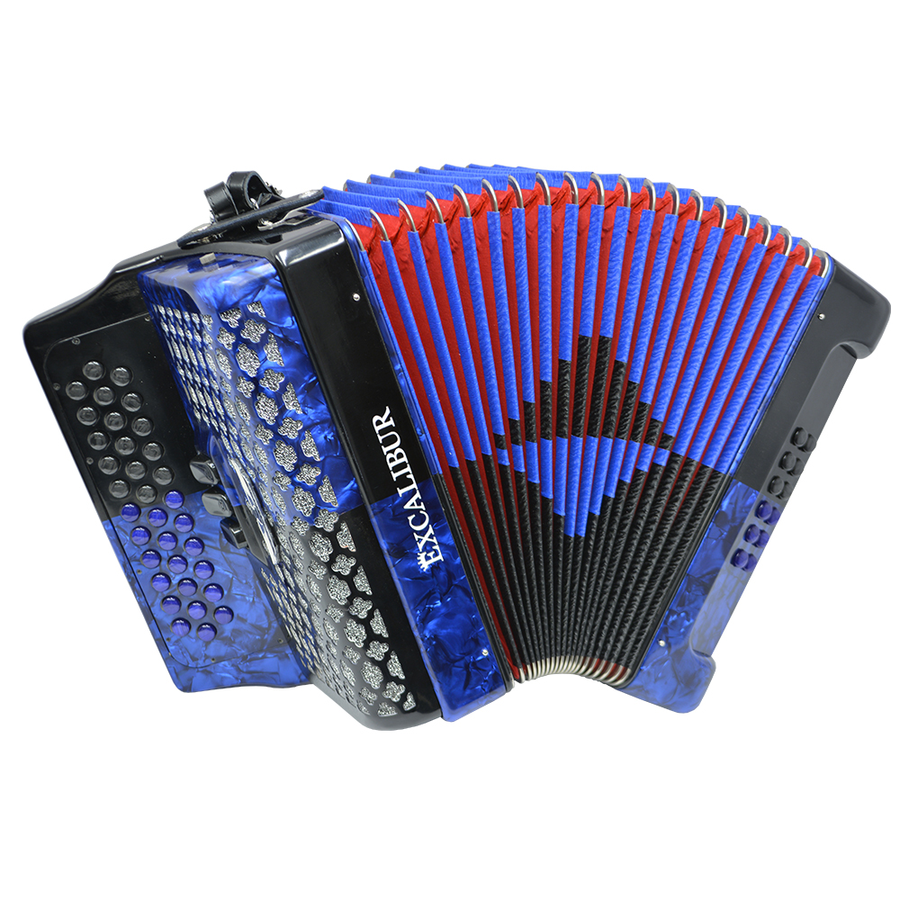 Excalibur Super Classic PSI 3 Row Button Accordion - Blue/Black -  Key of FBE