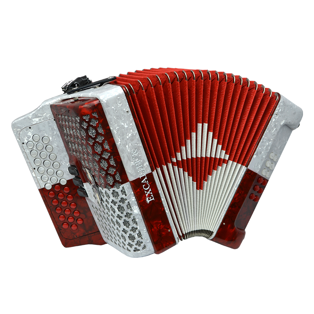 Excalibur Super Classic PSI 3 Row Button Accordion - Red/White -  Key of FBE