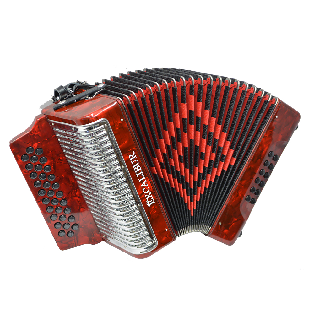 Excalibur Super Classic PSI 3 Row - Button Accordion - Red - Key of GCF