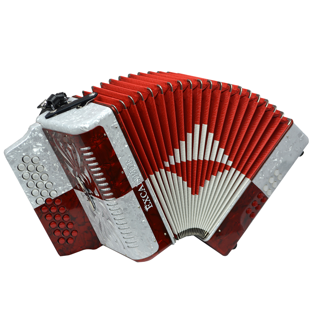 Excalibur Super Classic PSI 3 Row - Button Accordion - Red/White - Key of GCF