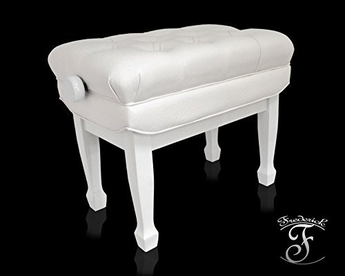 Frederick Concert Series Adjustable Piano Bench - White Polish
