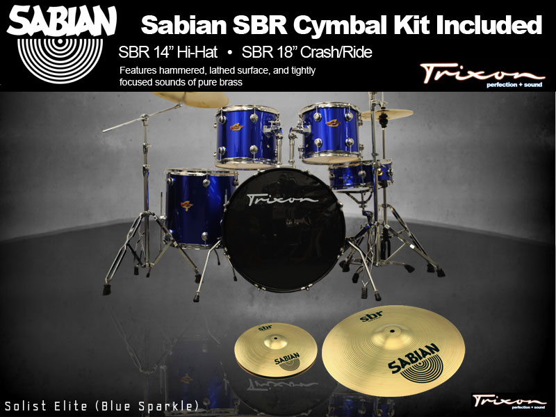 Trixon Solist Elite 5-Piece - Sparkle Blue w/ Sabian Cymbal Package
