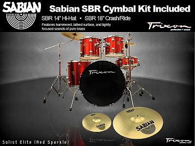 Trixon Solist Elite 5-Piece - Red Sparkle w/ Sabian Cymbal Package
