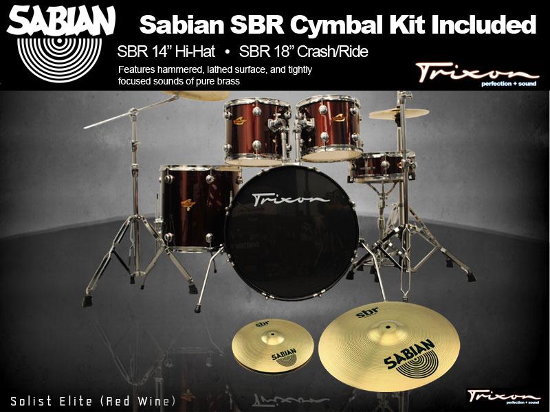 Trixon Solist Elite 5-Piece - Wine Red w/ Sabian Cymbal Package
