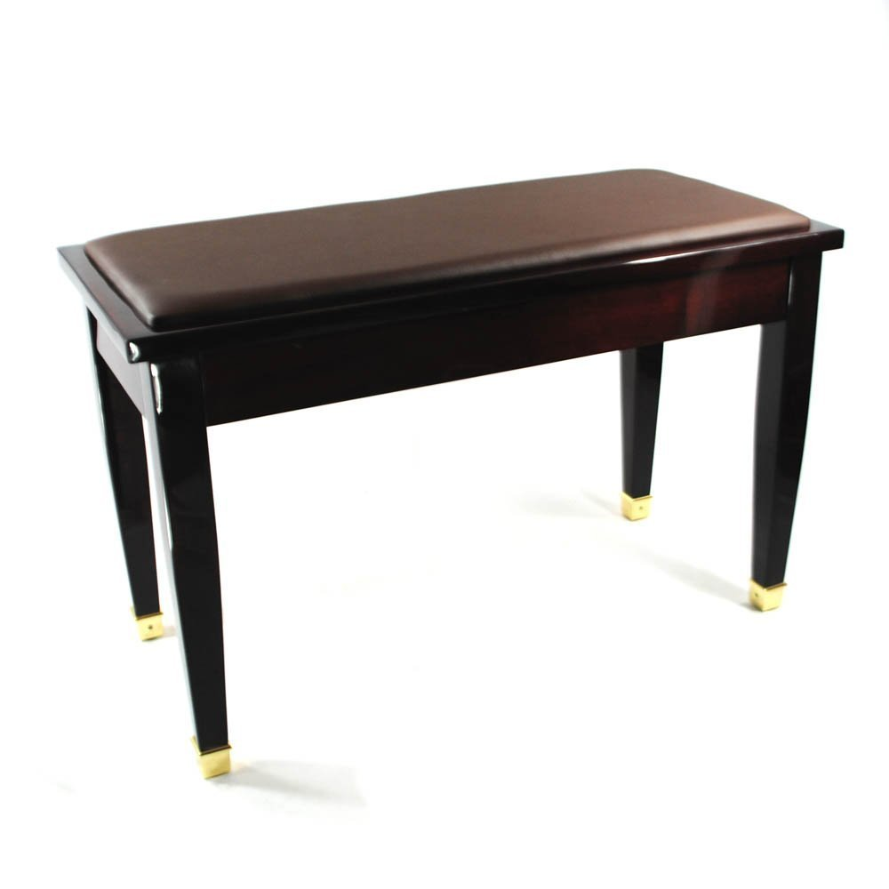 Frederick Duet Piano Bench - Mahogany Polish with Brass Accents