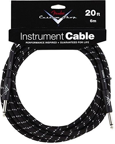 Fender® FG20bs Custom Shop Performance Guitar Bass Instrument Cable 20' Black Tweed