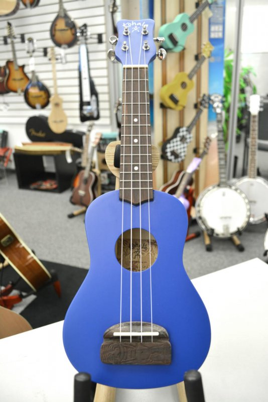 Kohala Model KT-SBL Tiki Ukulele in Ocean Blue