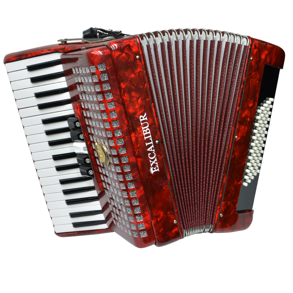 Excalibur Super Classic 60 Bass Accordion - Red