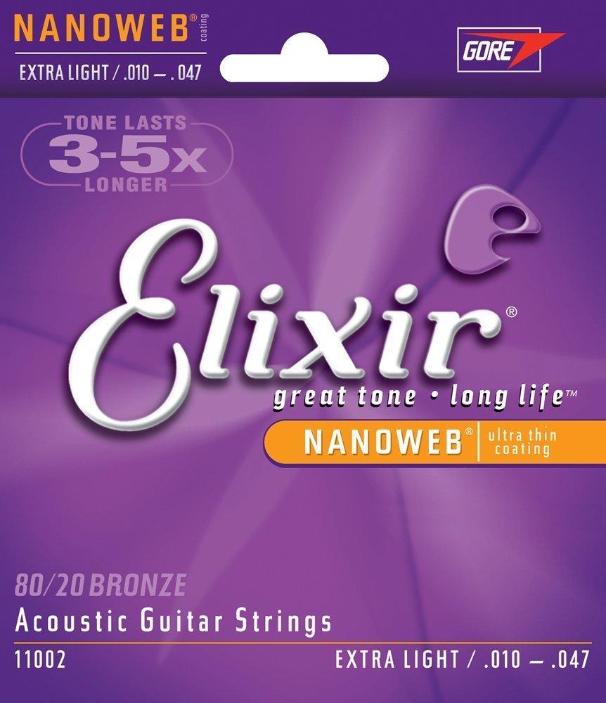 Elixir 11002 80/20 Bronze Acoustic Guitar Strings with NANOWEB Coating, Extra Light (.010-.047)