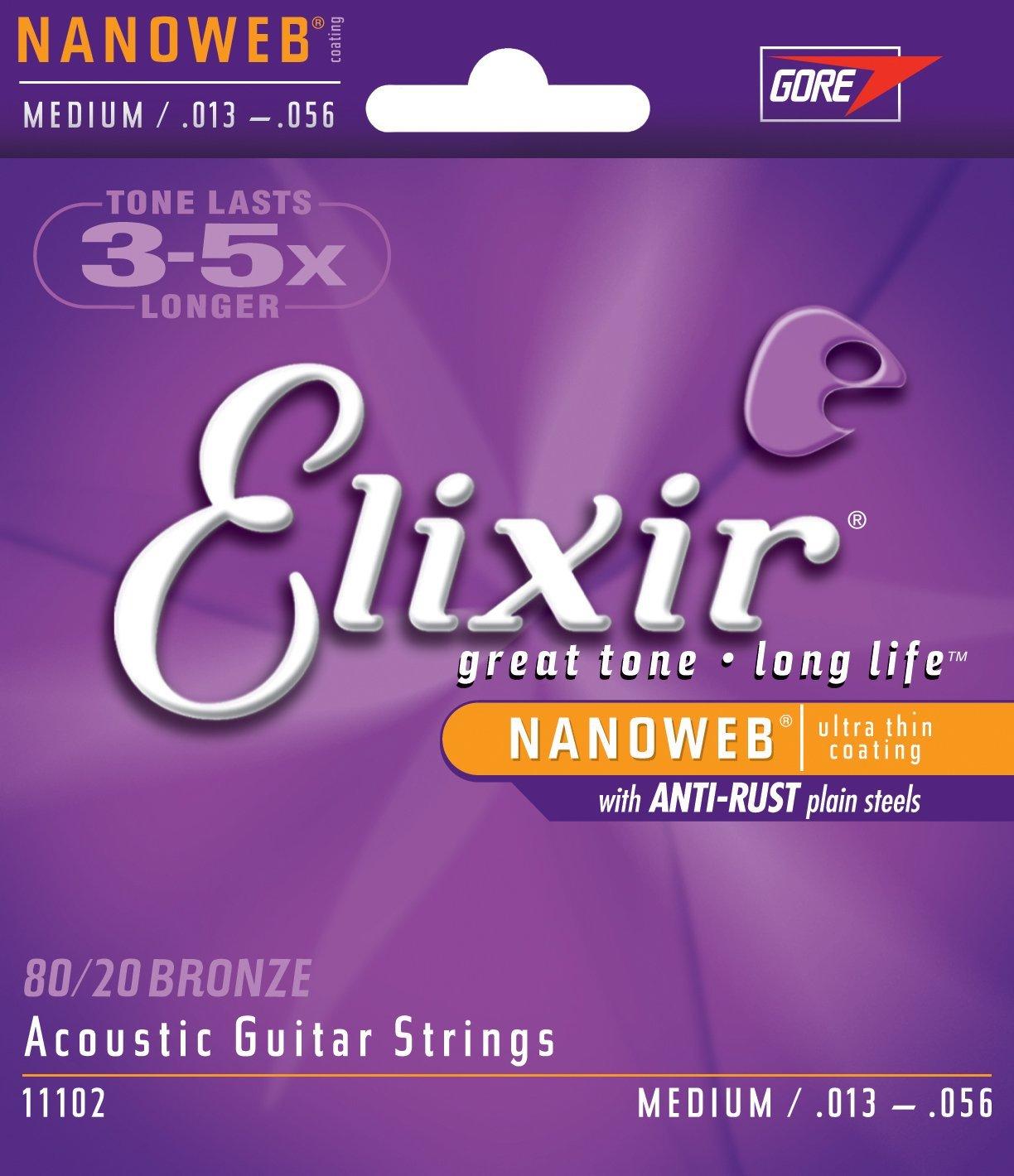 Elixir 11102 80/20 Bronze Acoustic Guitar Strings with NANOWEB Coating, Medium (.013-.056)
