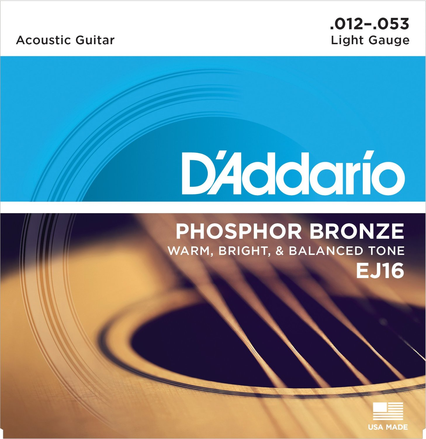 D Addario EJ16 Phosphor Bronze, Light, 12-53
