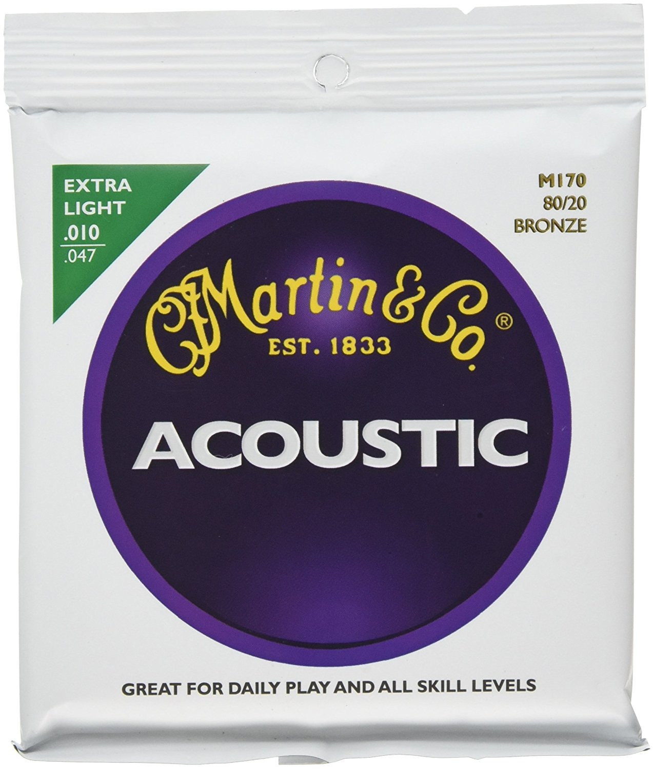 Martin M170 80/20 Acoustic Guitar Strings, Extra Light