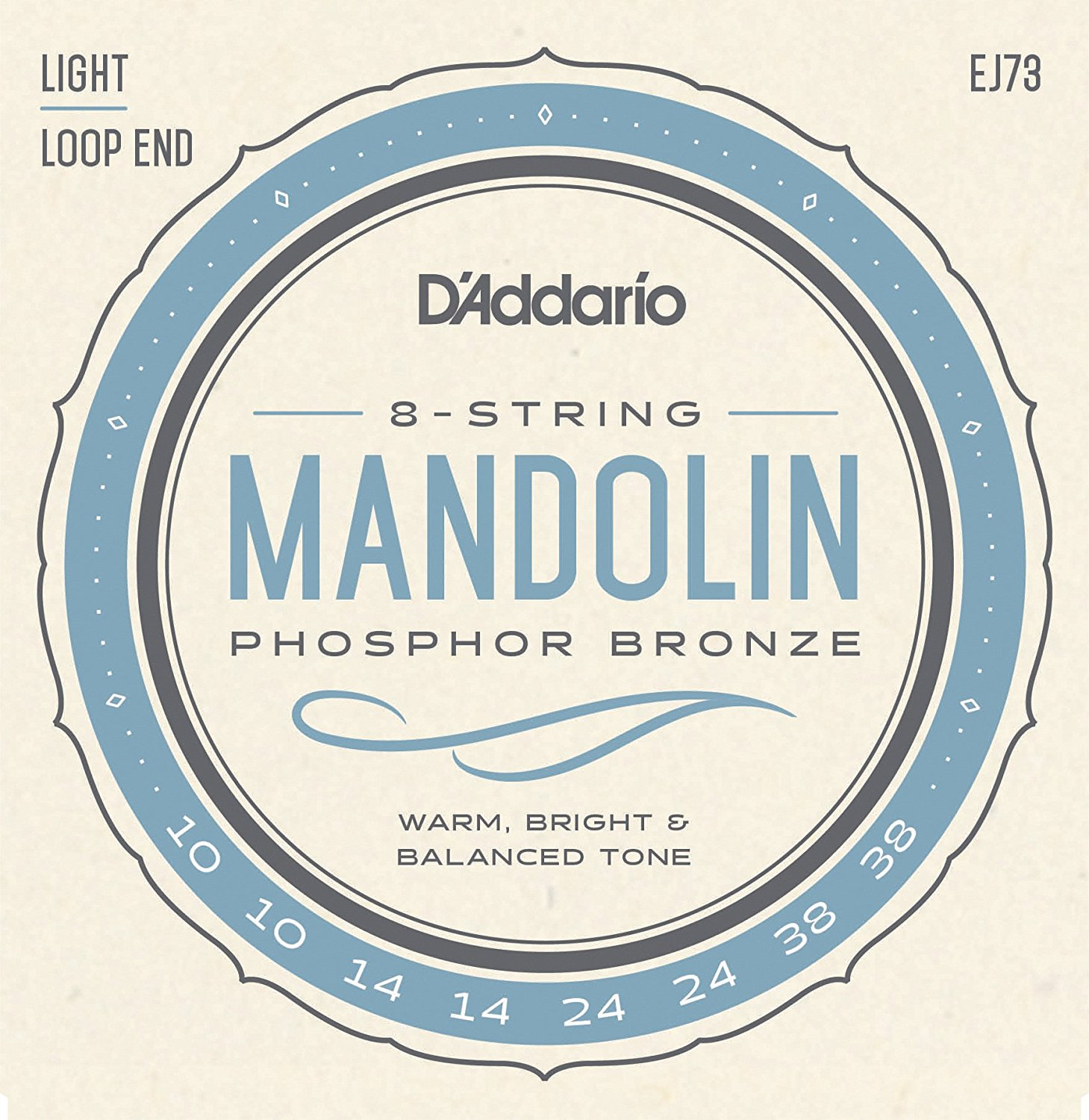 D Addario EJ73 Phosphor Bronze Mandolin Strings, Loop End - Light, 10-38