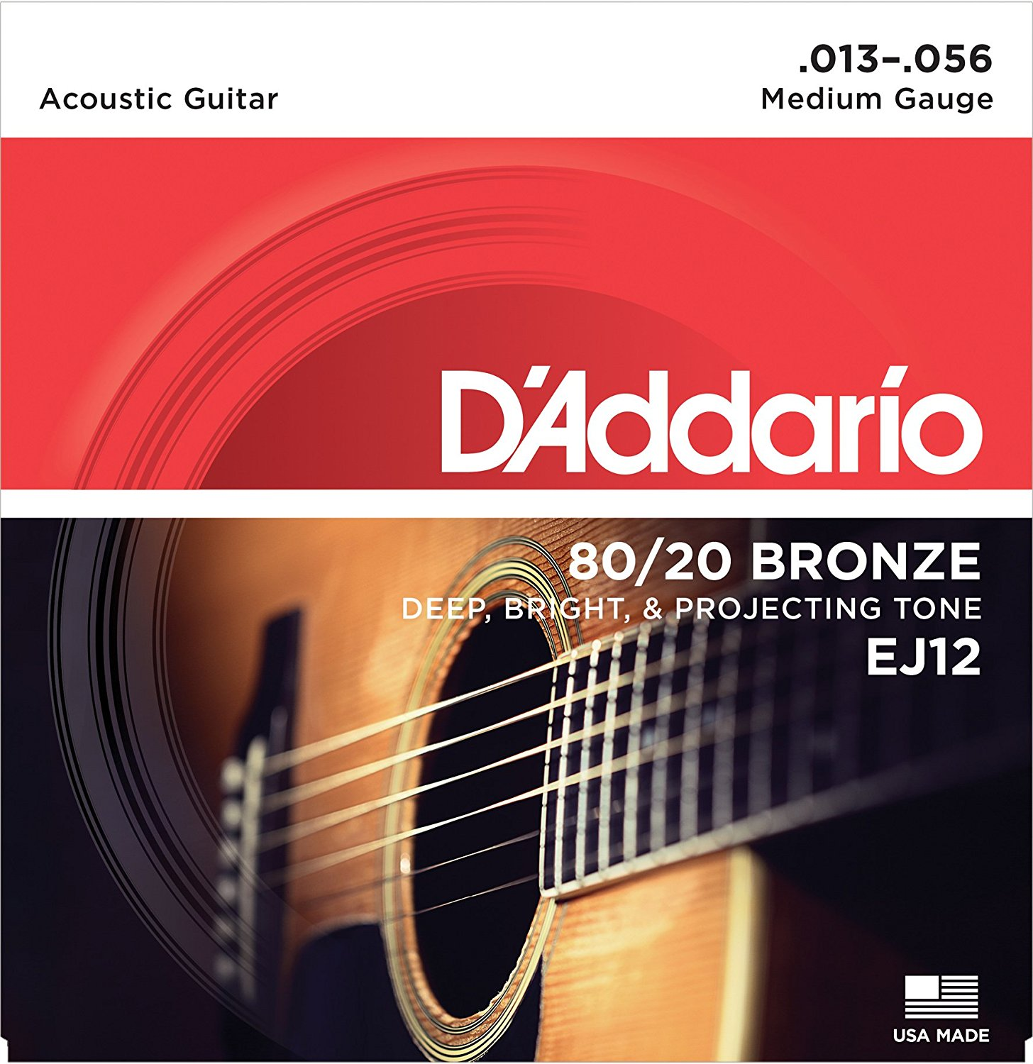 D Addario EJ12 80/20 Bronze Acoustic Guitar Strings, Medium, 13-56