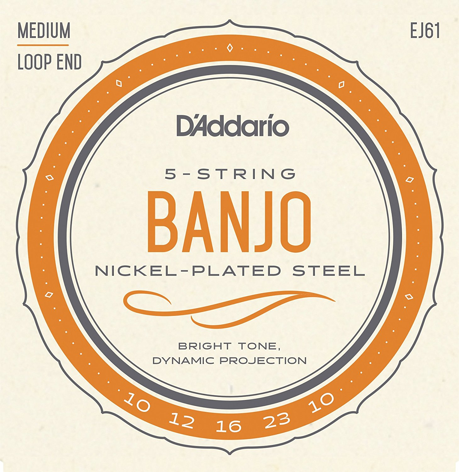 D Addario EJ61 5-String Banjo Strings, Nickel, Medium, 10-23