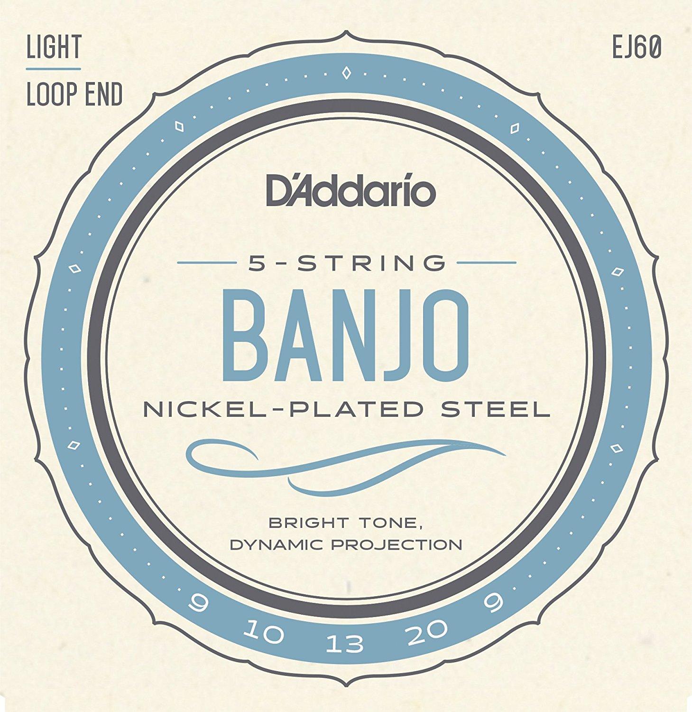 D Addario EJ60 5-String Banjo Strings, Nickel, Light, 9-20