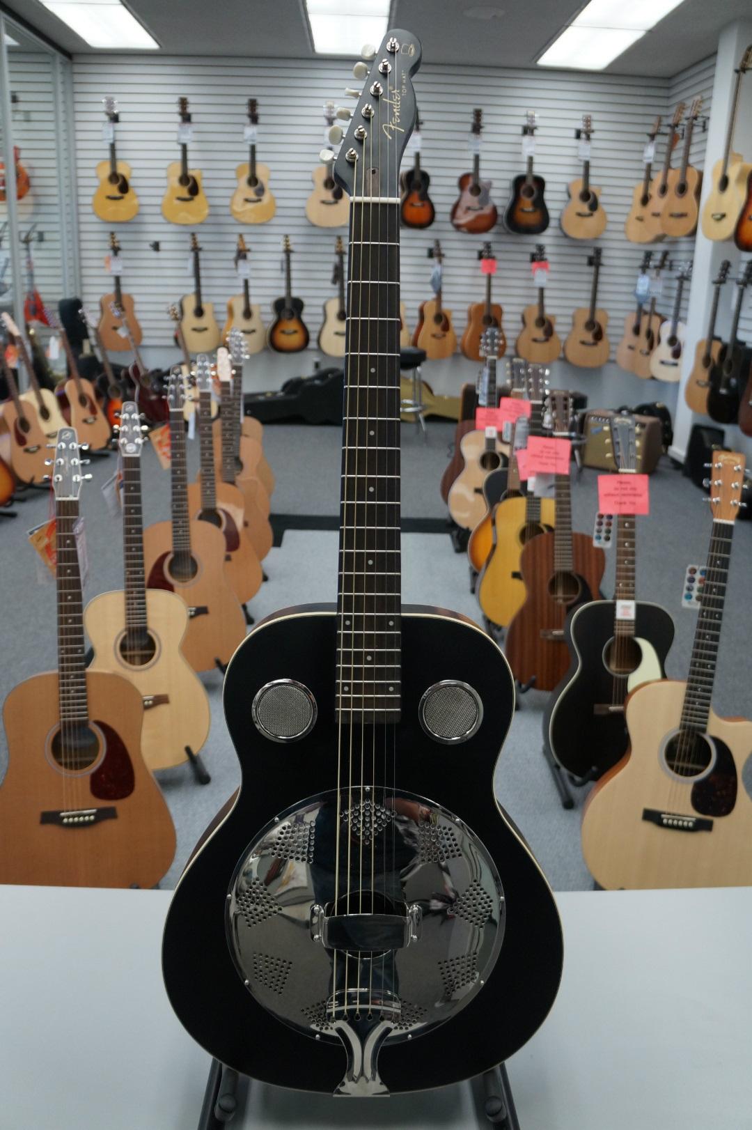 Fender® Top Hat Black Resonator Guitar