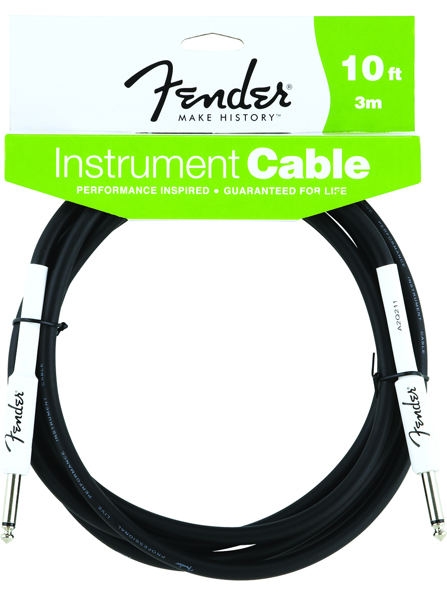 Fender®  FG10 10' Performance Series Guitar Bass Instrument Cable Black Rubber Straight/Straight