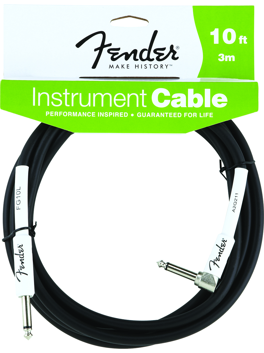 Fender®  FG10L 10' Performance Series Guitar Bass Instrument Cable Black Rubber Straight/90°