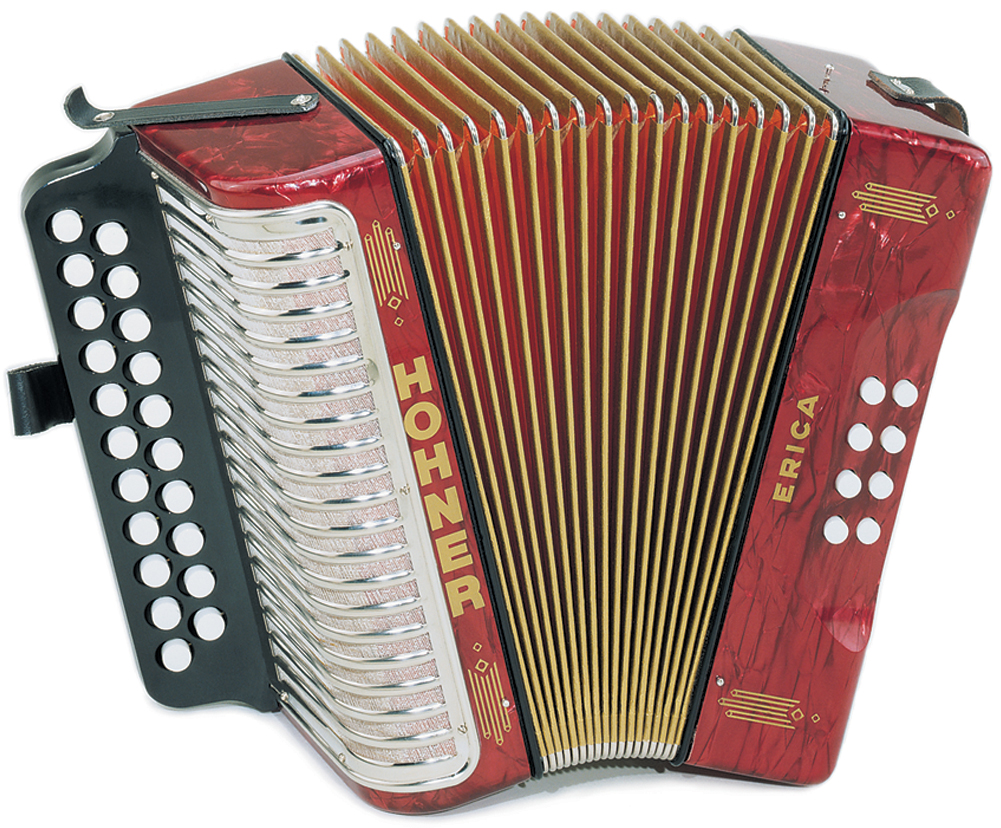 Hohner Erica 2 Row, HT, A/D, Red