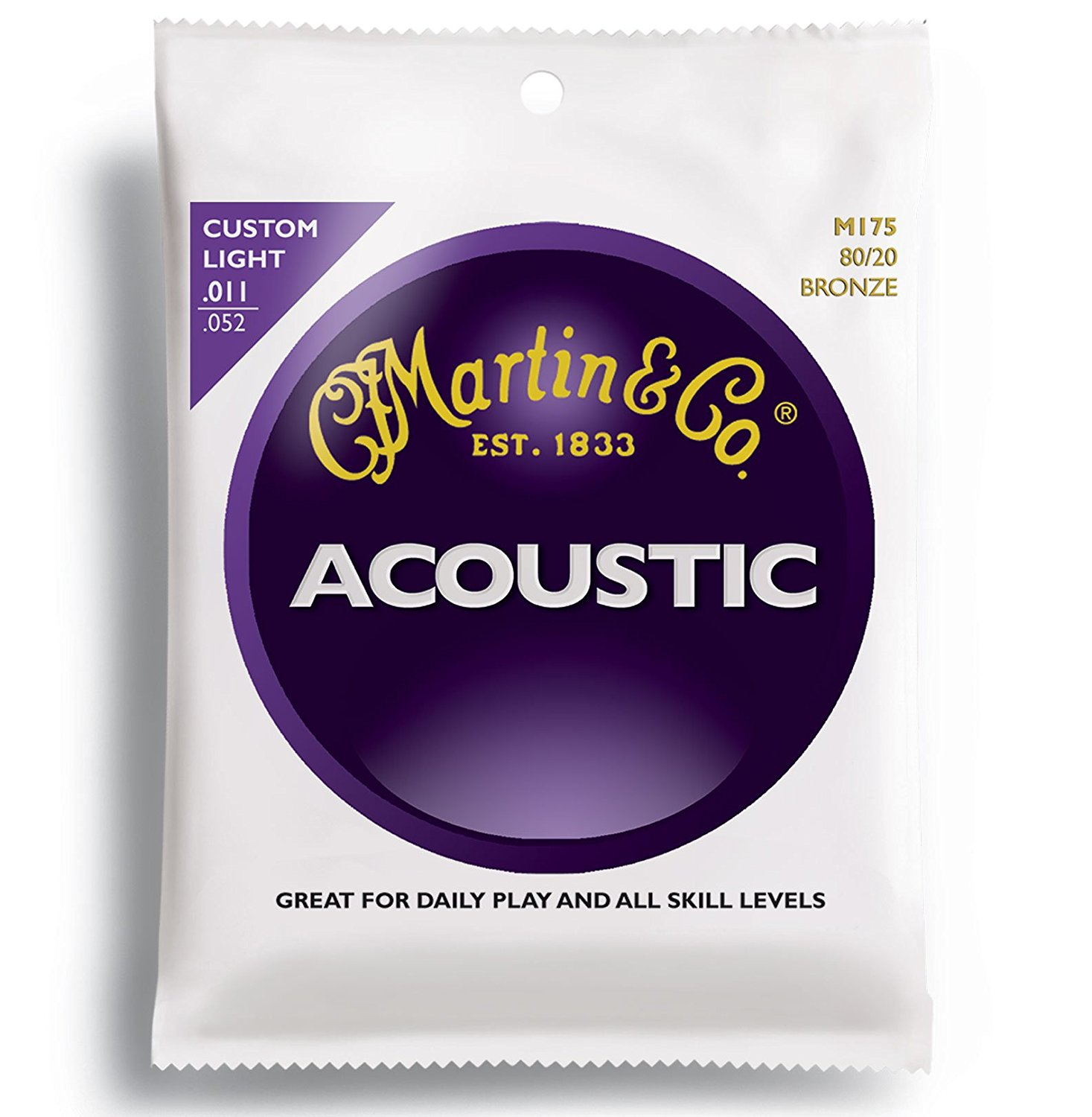 Martin M175 80/20 Acoustic Guitar Strings, Custom Light