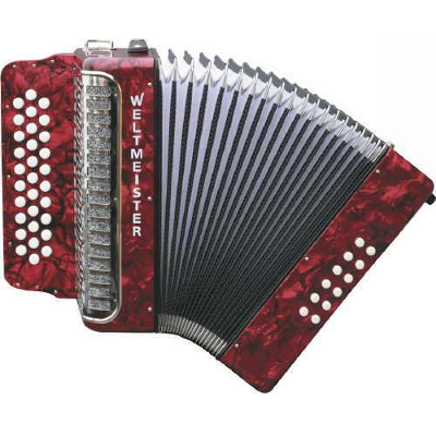 Weltmeister 3 Row Button Accordion Model 509 Red