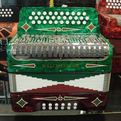 Weltmeister 3 Row Button Accordion Model 509 Tri-Color