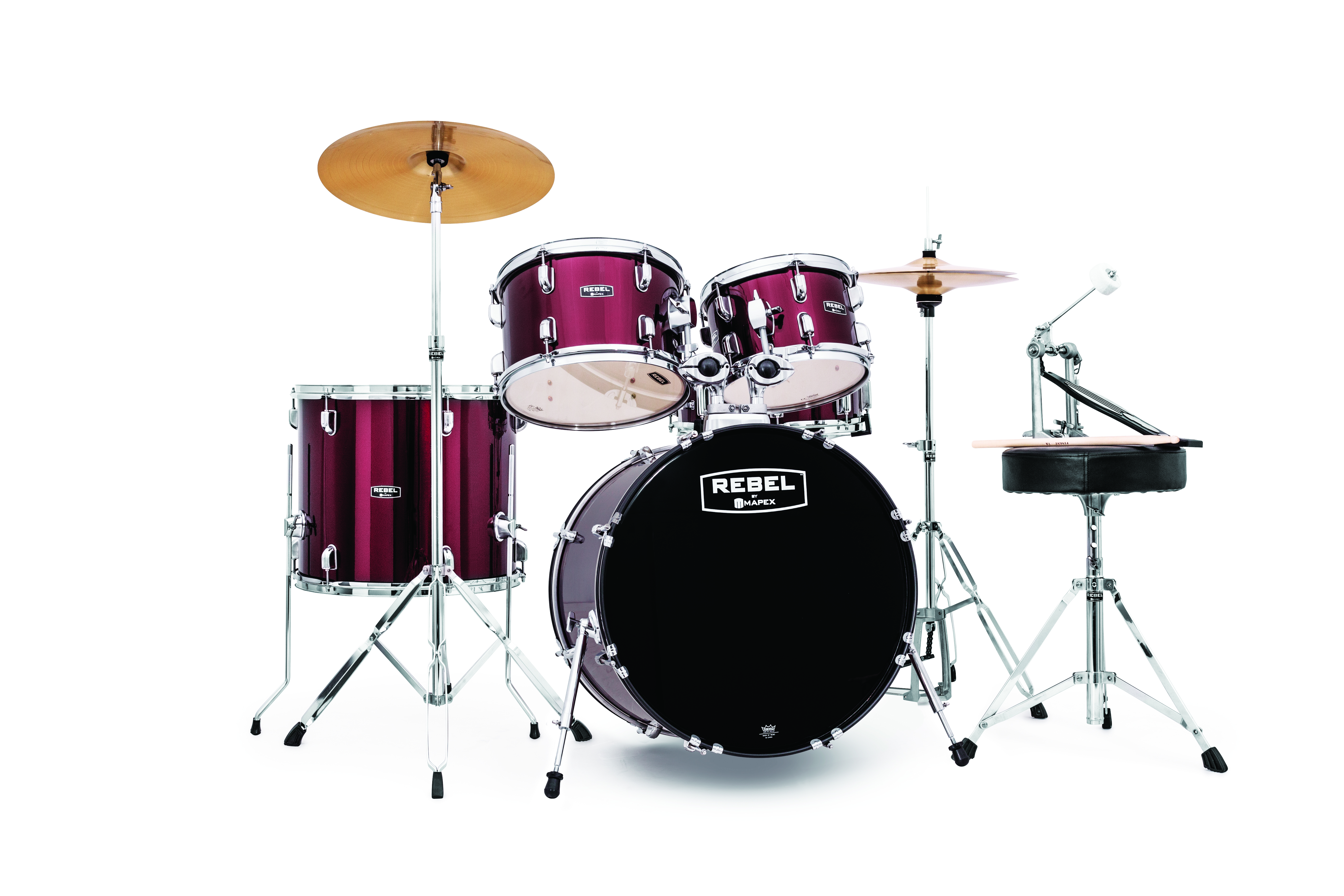 Mapex Rebel 5-piece Complete Jazz Set Up with Fast Size Toms - RB5044FTCDR - Dark Red