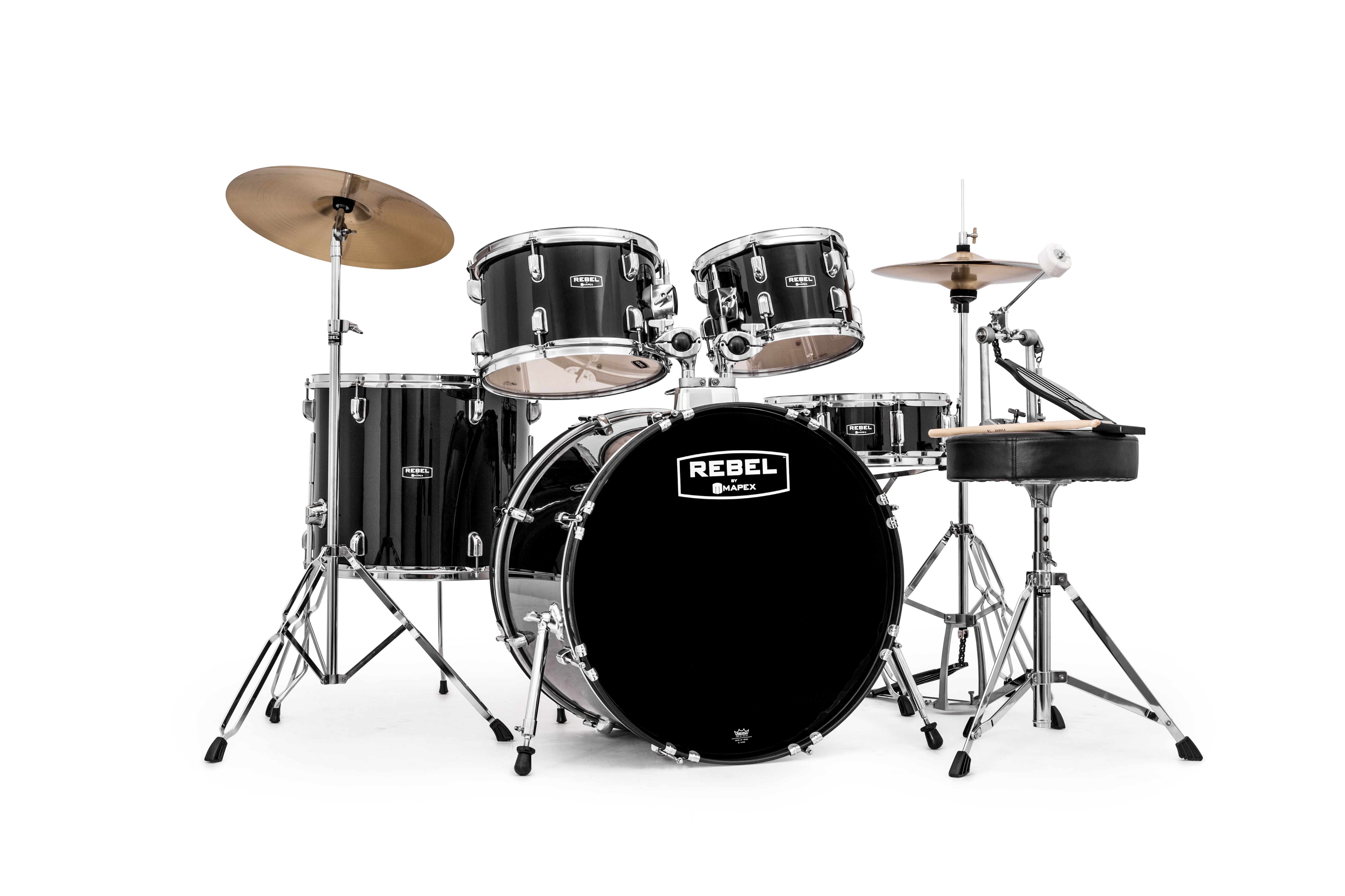 Mapex Rebel 5-piece SRO Complete Set Up with Fast Size Toms - RB5294FTCDK - Dark Black