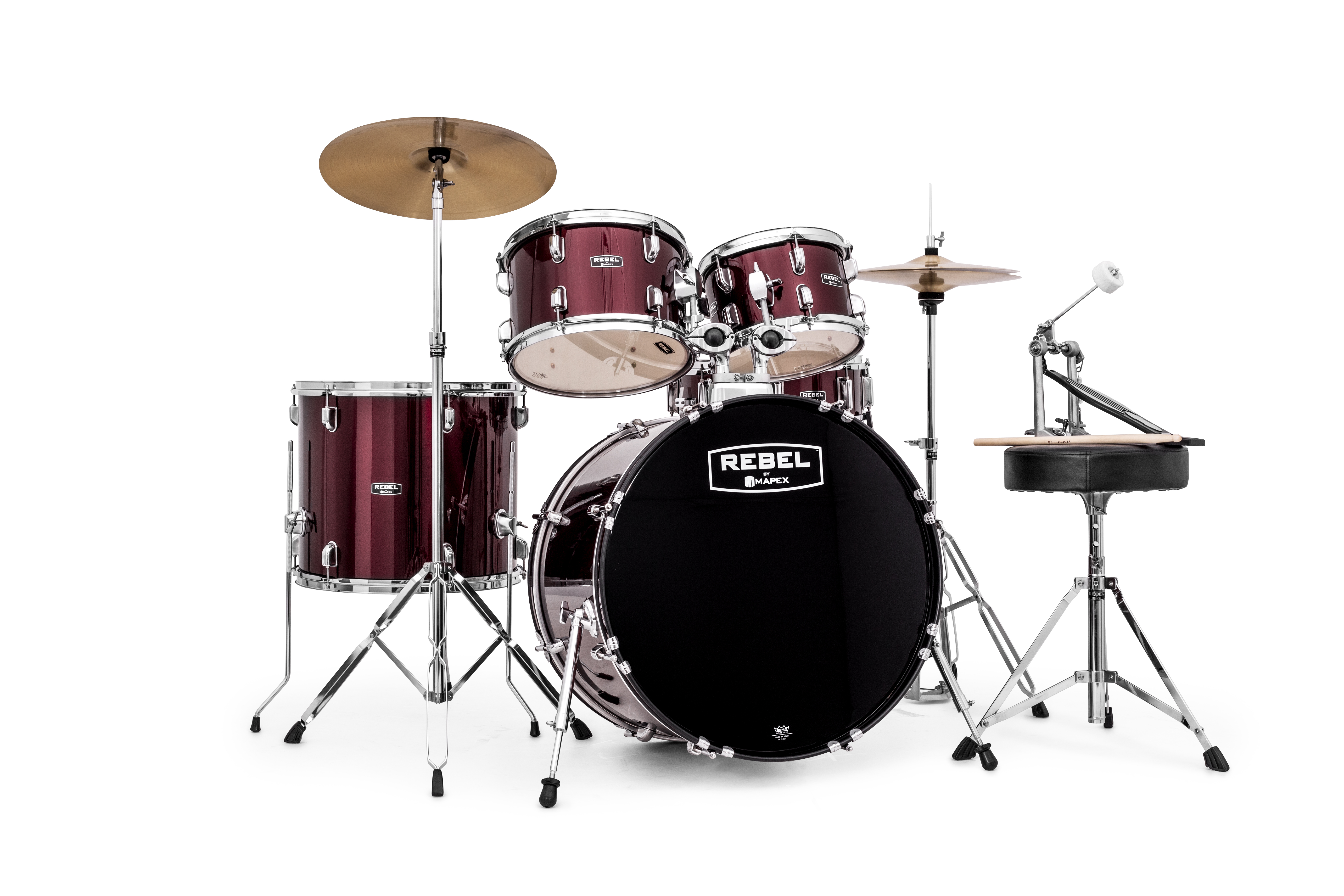 Mapex Rebel 5-piece SRO Complete Set Up with Fast Size Toms - RB5294FTCDR - Dark Red