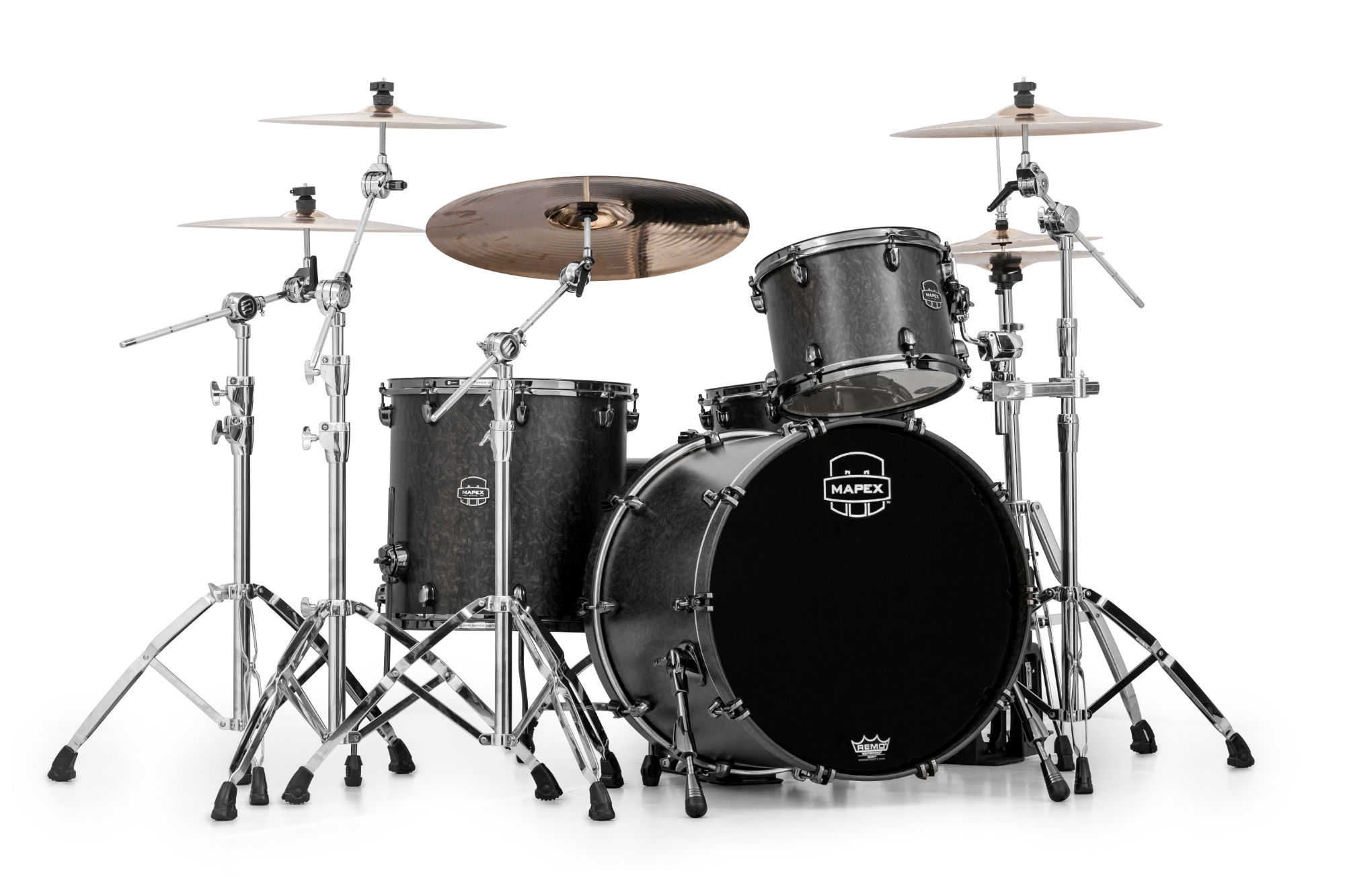 Mapex Saturn V MH Exotic Rock 3-piece shell pack with SONIClear Edge - SV426XBKFB - Satin Black Maple Burl