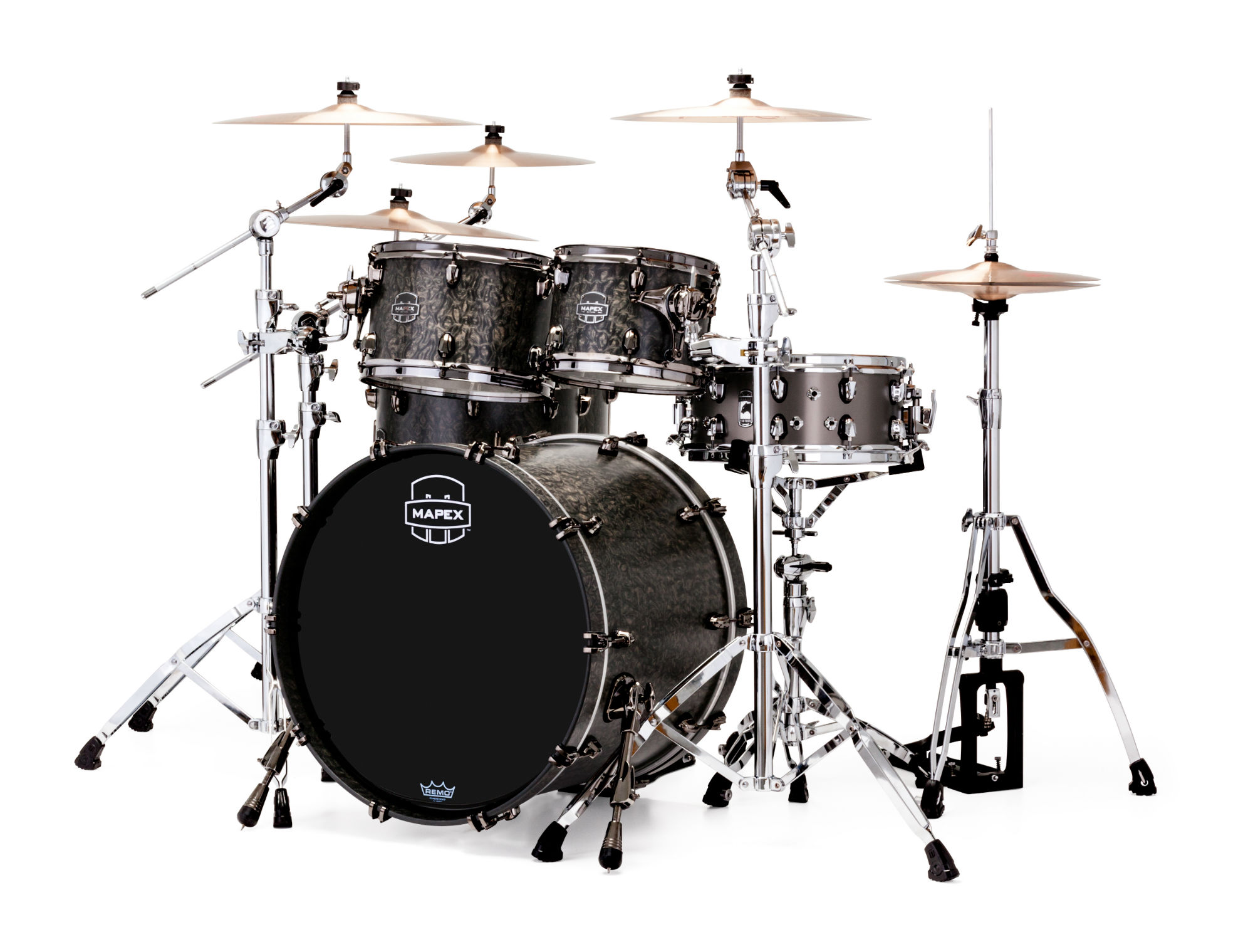 Mapex Saturn V MH Exotic Studioease 5-piece shell pack with SONIClear Edge - SV628XUBKFB - Satin Black Maple Burl