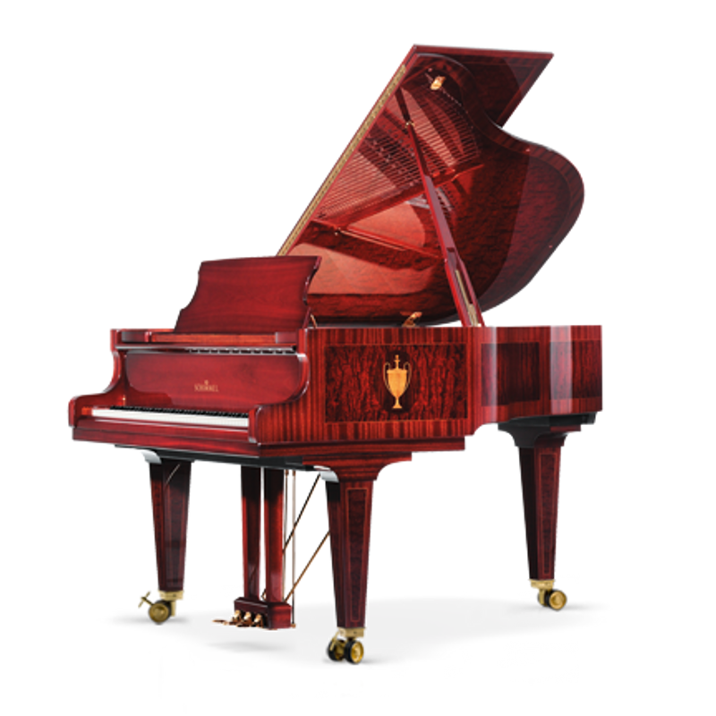 Schimmel Meisterstucke Traditional Intarsie Vase Grand Piano - Mahogany - Bubinga High Gloss