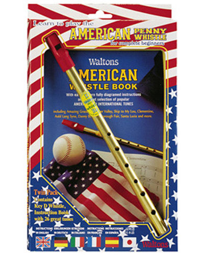 Waltons American Penny Whistle ( Key of D ) and Book Twin Pack