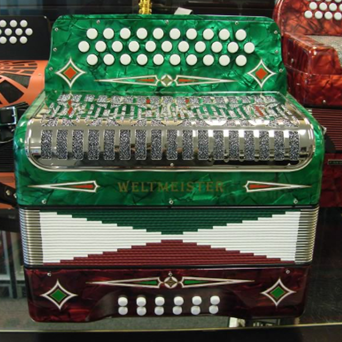 Weltmeister 3 Row Button Accordion Model 509 - Tri-Color
