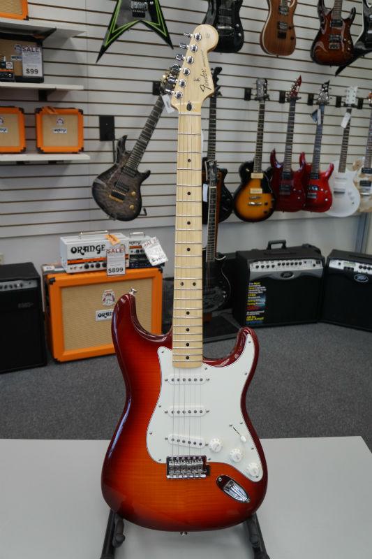 Fender® Standard Stratocaster® HSS Plus Top Electric Guitar - Aged Cherry Burst
