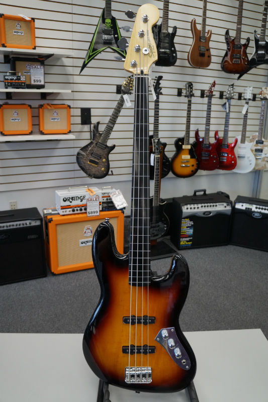 Fender® Squier® Vintage Modified Jazz Bass® Fretless Electric Bass - 3 Color Sunburst