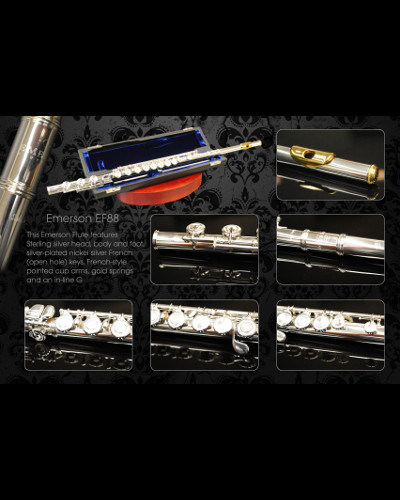 Emerson EF88 Flute Sterling Silver Head with French Open Hole Keys