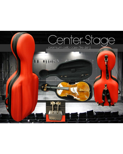 Center Stage Premium Cello Case - Fire Red Skin with Wheels