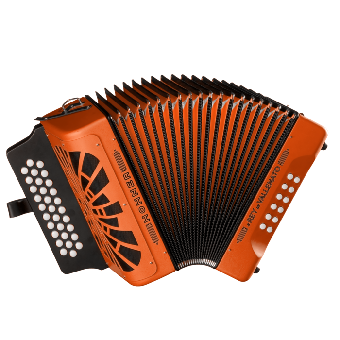 Hohner El Rey del Vallenato ADG, Orange with Gig Bag