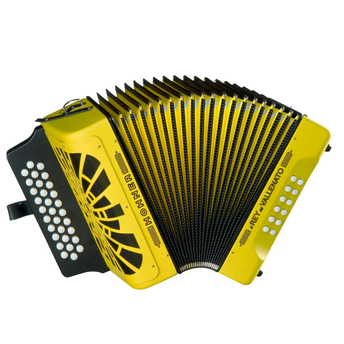 Hohner El Rey del Vallenato FBbEb, Yellow with Gig Bag