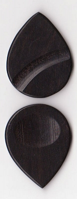 Thicket Wooden Guitar Pick - Thumb & Finger Groove - Ebony - Pack of Three