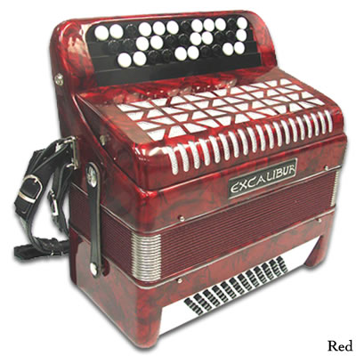 Excalibur Chromatic 60 Bass Accordion - Pearl Red