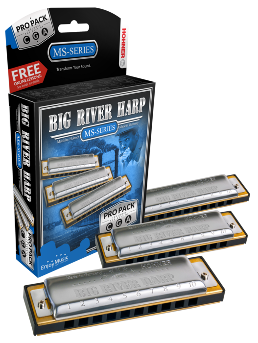 Hohner Big River Harmonica MS Propack Includes Key of G,C,A